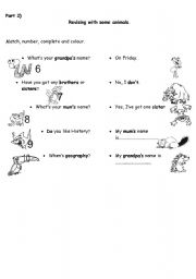 English Worksheets: Revising with some animals part2