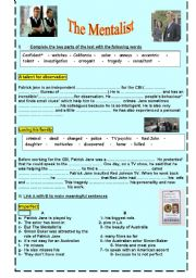English Worksheets: the mentalist a worksheet about the actor Simon Baker