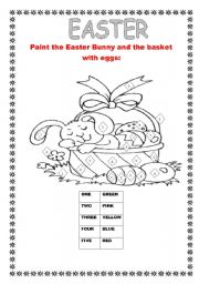 English Worksheet: PAINT THE EASTER BUNNY AND THE BASKET WITH EGGS!