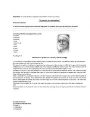 English Worksheets: Mother Teresa de Calcuta