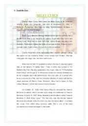 English Worksheet: Miley Cyrus