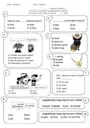 English Worksheet: 8th grade 2nd term 1st exam (ENGLISH NET 8)