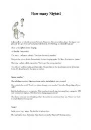English Worksheets: Text : How many nights