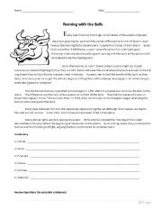 English Worksheets: Running with the Bulls