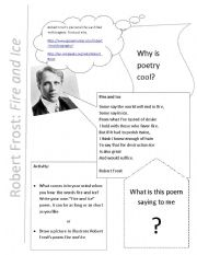 English Worksheets: Fire and Ice by Robert Frost
