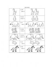 english worksheets singular and plural zoo animals. Black Bedroom Furniture Sets. Home Design Ideas