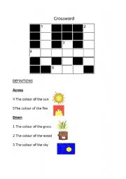 English worksheet: crossword colours