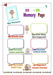 English Worksheets: Memory Page