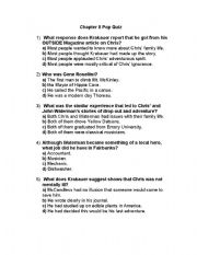 English Worksheet: Into The Wild - Quiz