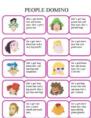 English Worksheets: PEOPLE DOMINO