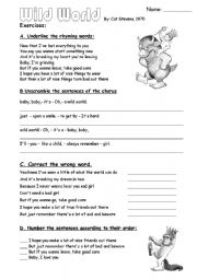 English Worksheets: 2 pages of exercises with Wild world by Cat Stevens