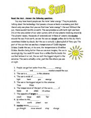 English Worksheets: The Sun