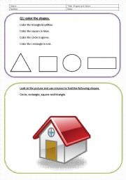 English worksheet: shapes and colors