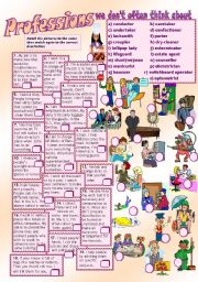 English Worksheets: PROFESSIONS (we don�t often think about)