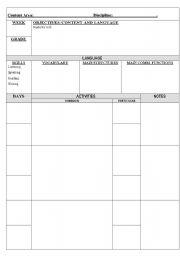 English Worksheets: A weekly plan chart