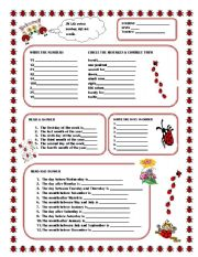 English Worksheet: Numbers and Calendar