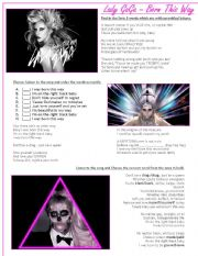 LADY GAGA - Born This Way LISTENING Song activity (With Key!)