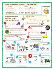 English Worksheet: Simple Present Tense- To have- Questions