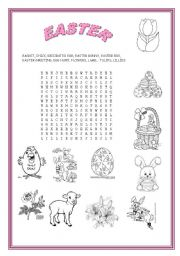 English Worksheet: EASTER SYMBOL WORDSEARCH