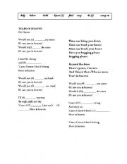 English Worksheet: song: tears in heaven. Eric Clapton