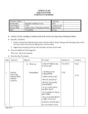 lesson plan daily routines This lesson plan examines a day in the life of a boy living in a poor a major industrialized city in eastern india, during his daily routine.