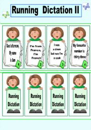 English Worksheet: Running dictation cards game. 2/3