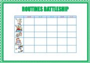 English Worksheets: ROUTINES BATTLESHIP