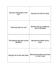 English Worksheets: Cause & Effect Cards