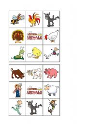 English Worksheet: FARM ANIMALS - Bingo 1 of 2