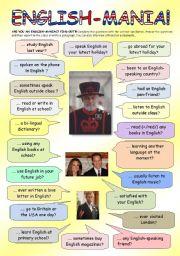 English Worksheet: English-mania!!!