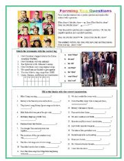 English Worksheet: GLEE Tag Questions