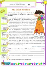 English Worksheet: Renato�s Daily Routine -  Reading Test