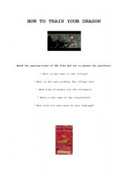 MOVIE: How to train your dragon - worksheet