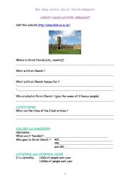 English Worksheets: Webquest Oxford Christ Church