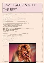 English Worksheet: Tina Turner: Simply the best