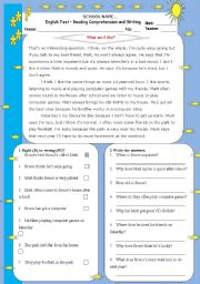 English Worksheet: What am I like?-Reading and Writing Test