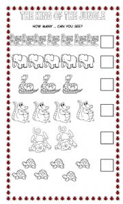 English Worksheets: The King of the Jungle Wild Animals