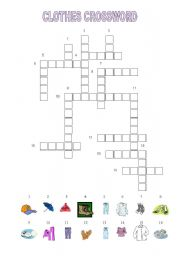 English Teaching Worksheets Clothes Crossword