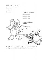 English Worksheets: Sandy Cheeks