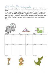 English Worksheets: describe the animal