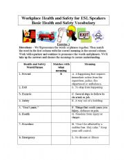English Worksheet: Basic Health and Safety Vocabulary for English Students - Matching Exercise/Cloze/ Answer Keys