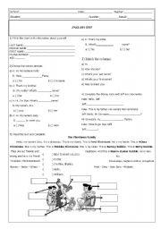 English Worksheets: Test on reading and basic questions