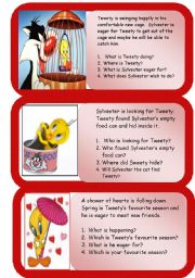 English Worksheets: Mini comprehensions - Tweety and Sylvester