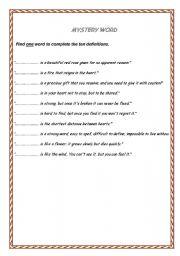 English worksheet: Mystery Word