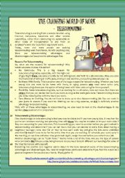 English Worksheet: reading - The Changing World of Work (Telecommuting) + comprehension + essay - KEY included