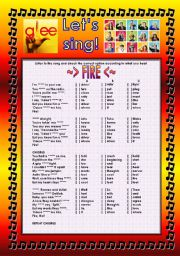 English Worksheet: GLEE SERIES �SONGS FOR CLASS! S01E16 � THREE SONGS � FULLY EDITABLE WITH KEY! � PART 1/2