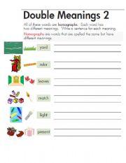 Homonyms And Homographs Worksheet Worksheets for all | Download ...