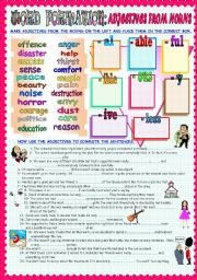 English Worksheets: WORD FORMATION: ADJECTIVES FROM NOUNS