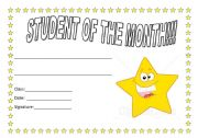 English Worksheets: student of the month