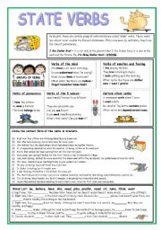 Action and stative verbs worksheet pdf